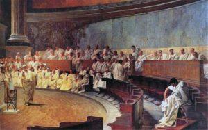 Cicéron dénonce Catilina, fresque réalisée entre 1882 et 1888 par Cesare Maccari (1840-1919).