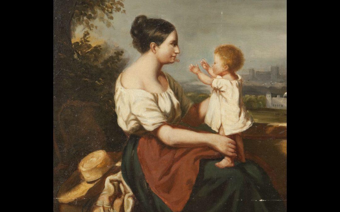 Ecole moderne - Mère et son enfant dans un paysage