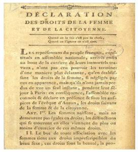 Olympe de Gouges Déclaration des droits des femmes et de la citoyenne