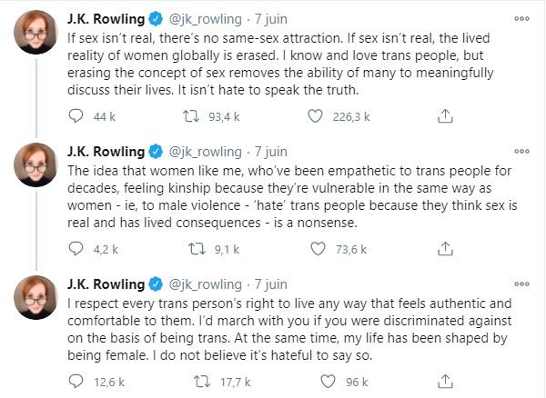 Tweet transphobe de JK Rowling